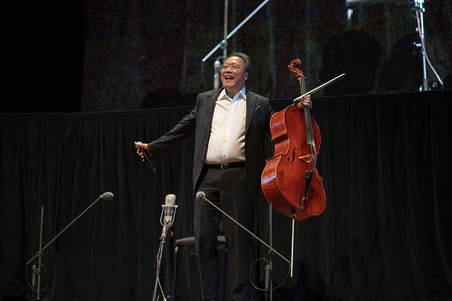 Yo-Yo Ma acknowledges the audience following the performance of J. S. Bach's complete Cello Suites in a free concert at Millennium Park's Jay Pritzker Pavilion on June 20, 2019. (Credit: Todd Rosenberg)