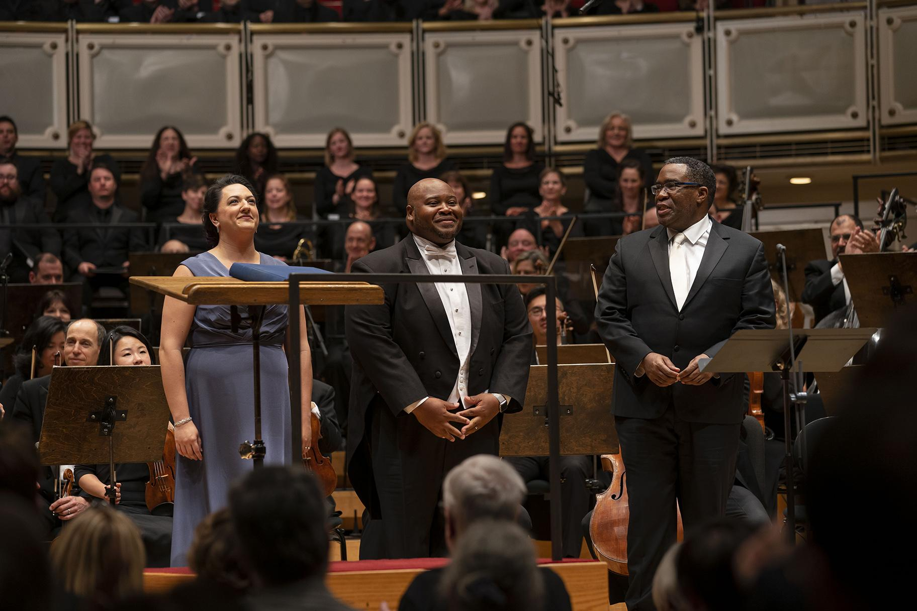 "Soprano Tasha Koontz (CSO debut), tenor Issachah Savage (CSO debut) and bass-baritone Eric Owens after the conclusion of Act II of Verdi's ""Aida"" on June 21, 2019. (Credit: Todd Rosenberg)"