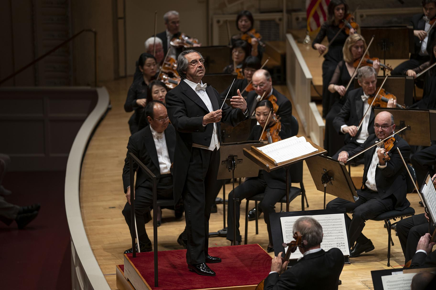 Music Director Riccardo Muti leads the Chicago Symphony Orchestra in a program that includes Shostakovich's Symphony No. 6, works by Mendelssohn and Scriabin, as well as Grieg's Piano Concerto featuring pianist Leif Ove Andsnes as soloist on Sept. 19 2019, in Orchestra Hall. (Photo by Todd Rosenberg)
