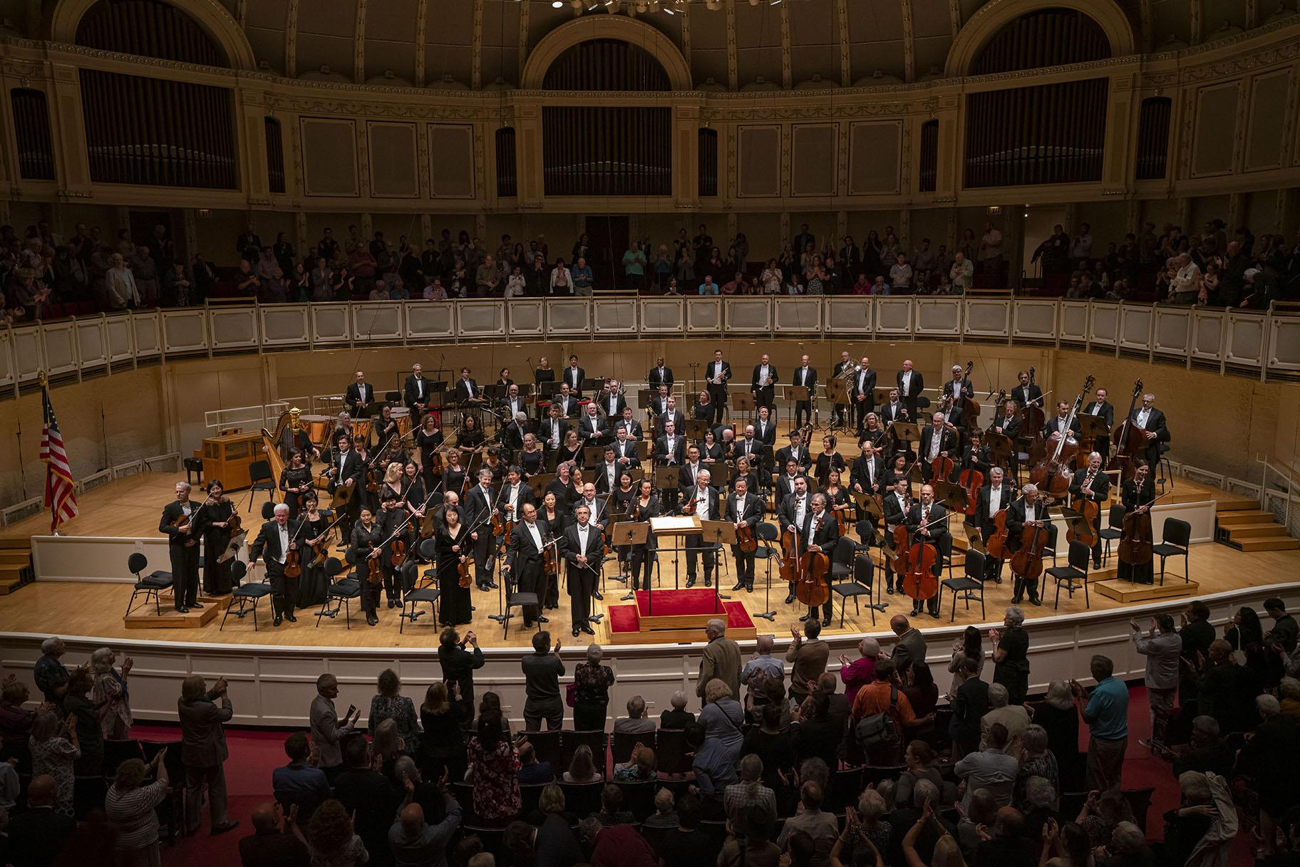 Riccardo Muti and the Chicago Symphony Orchestra acknowledge audience applause following their opening program of the 2019-'20 season on Sept. 19, 2019, in Orchestra Hall. (Photo by Todd Rosenberg)