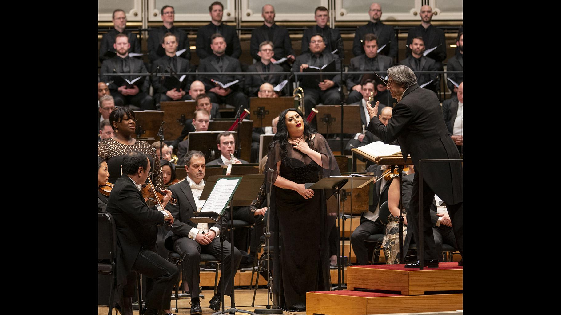 "Mezzo-soprano Anita Rachvelishvili, center, performs the role of Santuzza in ""Cavalleria rusticana,"" conducted by music director Riccardo Muti, right, with the Chicago Symphony Orchestra and Chorus at Symphony Center on Feb. 6, 2020. (Credit: Todd Rosenberg)"