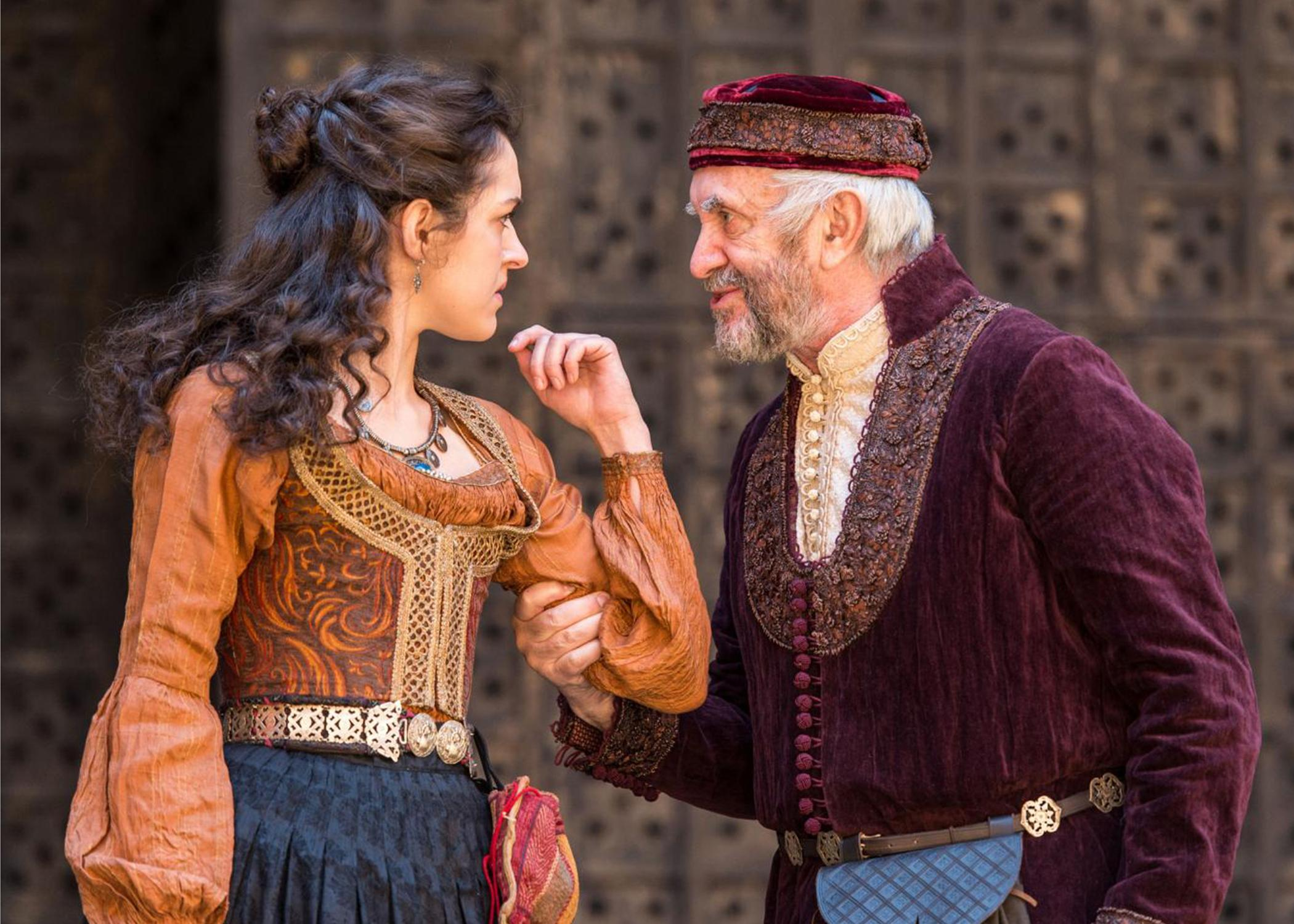 "Phoebe Pryce and Jonathan Pryce in the Shakespeare's Globe production of ""The Merchant of Venice,"" directed by Jonathan Munby, presented at Chicago Shakespeare Theater. (Marc Brenner / Chicago Shakespeare Theater)"