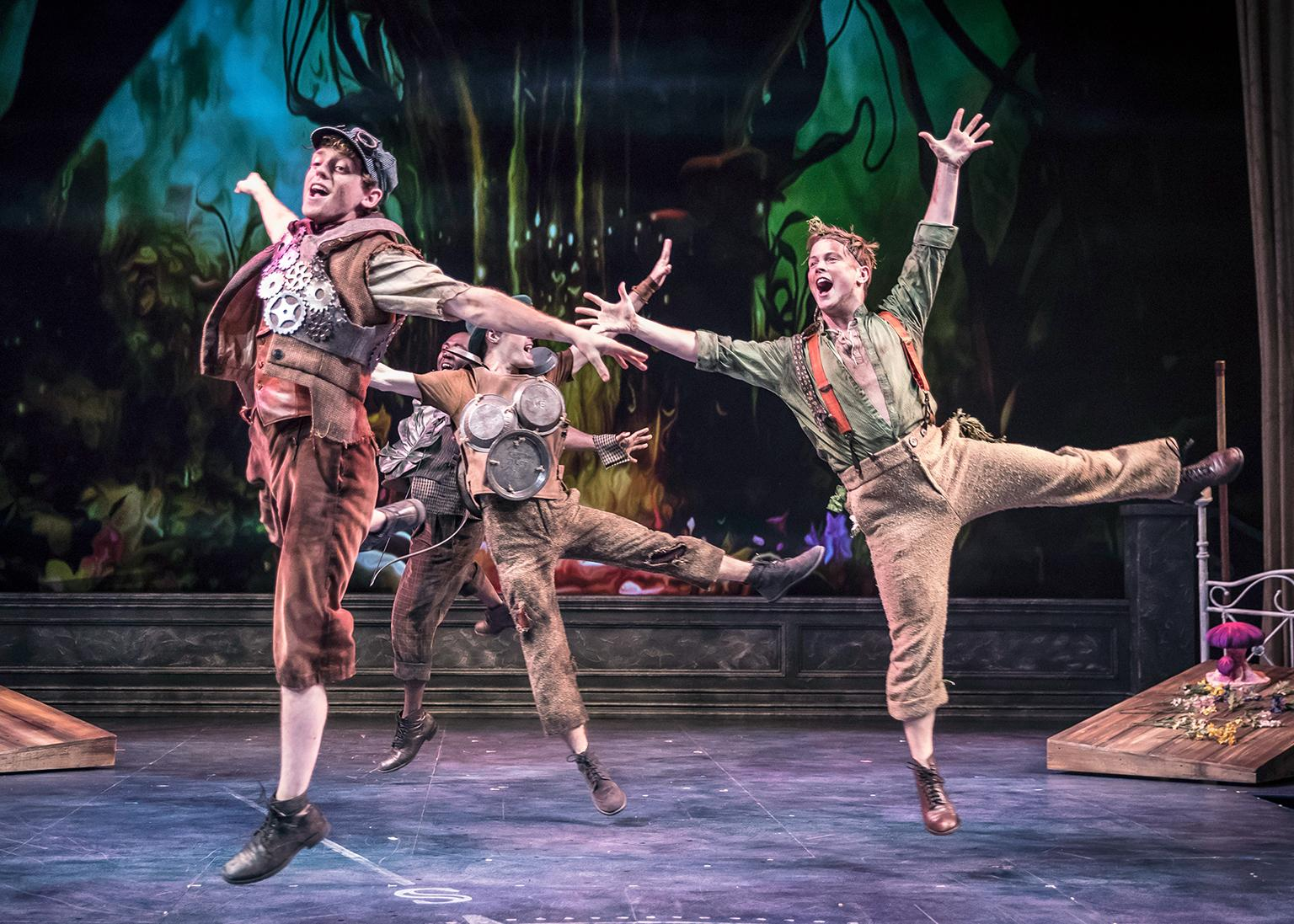 "Toodles (Michael Kurowski), Nibs (Travis Austin Wright), Curly (Colin Lawrence) and Slightly Soiled (John Marshall Jr.) in ""Peter Pan – A Musical Adventure."" (Photo by Liz Lauren)"