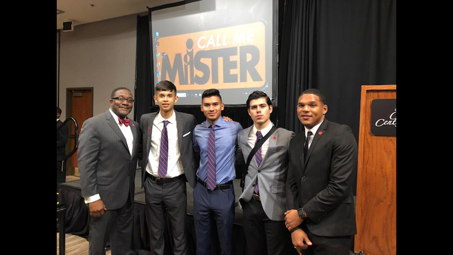 Six students will participate in UIC's Call Me MISTER program, which aims to get more male teachers of color into classrooms. From left: Alfred Tatum, Armando Rivera, Juan Hernandez, Jesus Flores and Juwaun Williams. (Credit: UIC Photo)