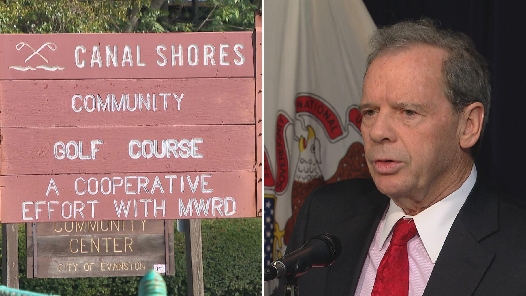 A sign for the Canal Shores golf club, left, and a file photo of Illinois Senate President John Cullerton. (WTTW News)
