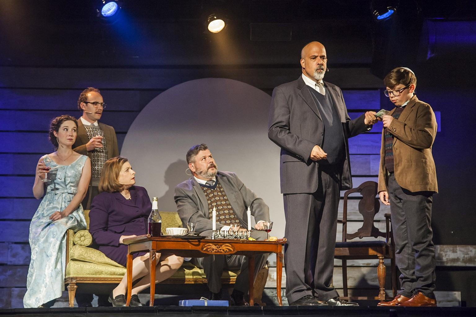 "From left: Blair Robertson, Jonathan Schwart, Rosalind Hurwitz, Kevin M. Grubb, Michael Kingston and Alejandro Medina in ""Caroline, Or Change."" (Photo by Marisa KM)"