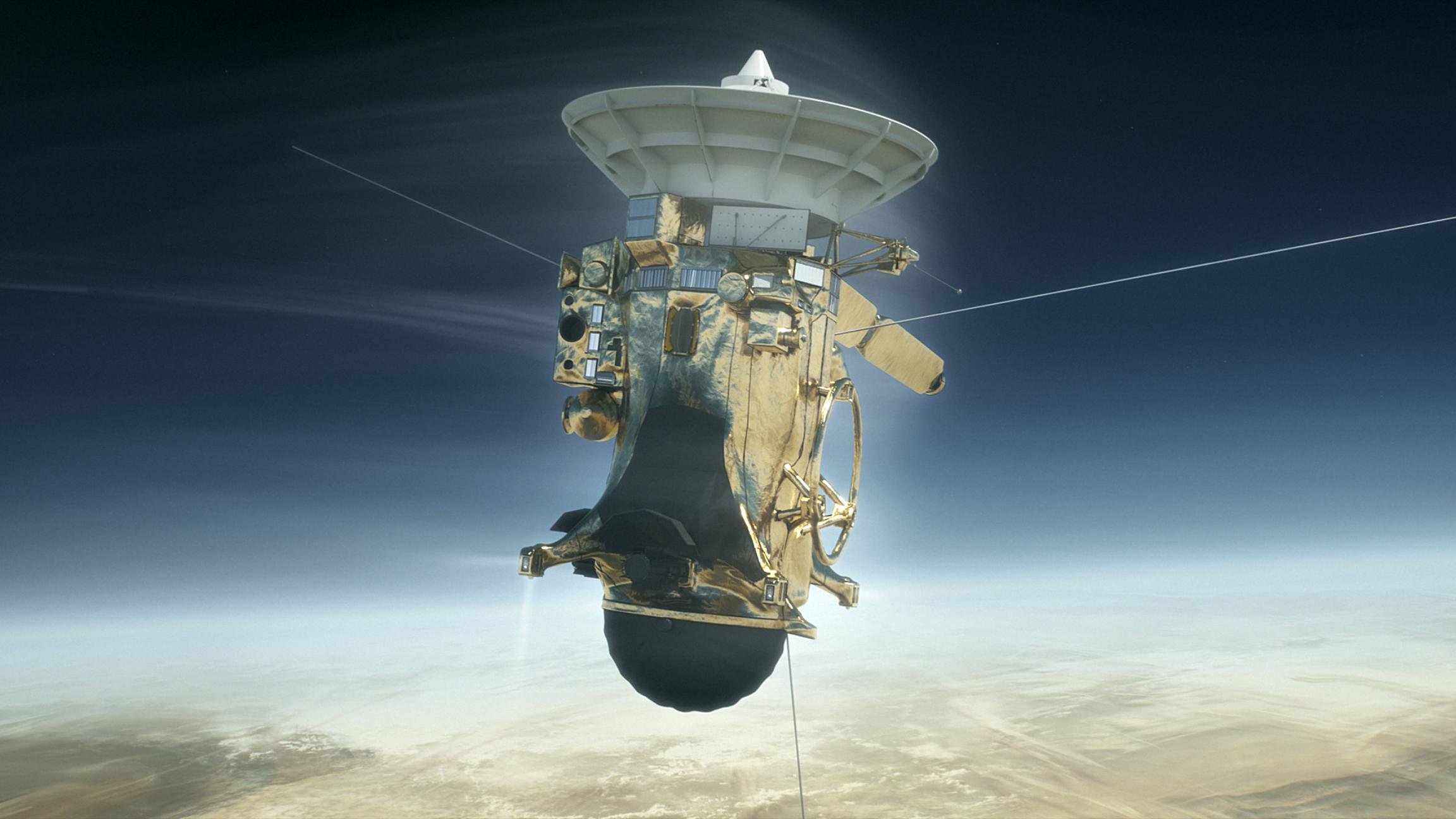 NASA's Cassini spacecraft is shown during its Sept. 15, 2017, plunge into Saturn's atmosphere in this artist's depiction. ( Credit: NASA / JPL-Caltech)