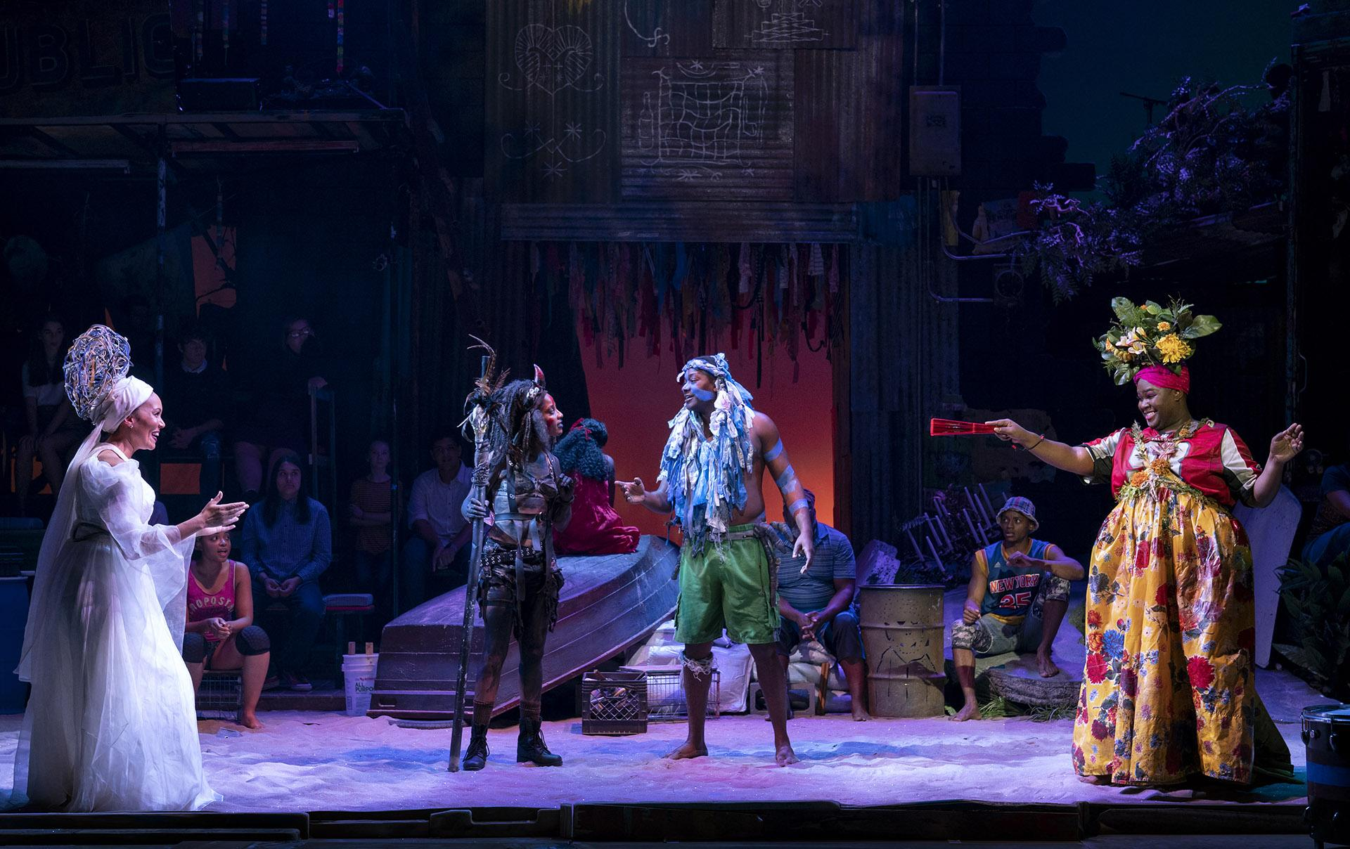 "Cassondra James as Erzulie (from left), Tamyra Gray as Papa Ge, Jahmaul Bakare as Agwe, Kyle Ramar Freeman as Asaka and the North American Tour of ""Once On This Island."" (Photo by Joan Marcus / 2019)"