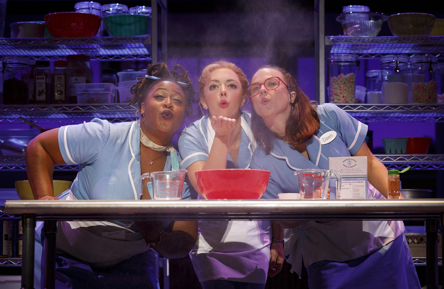 "Charity Angel Dawson, Desi Oakley and Lenne Klingaman in ""Waitress."" (Credit: Joan Marcus)"