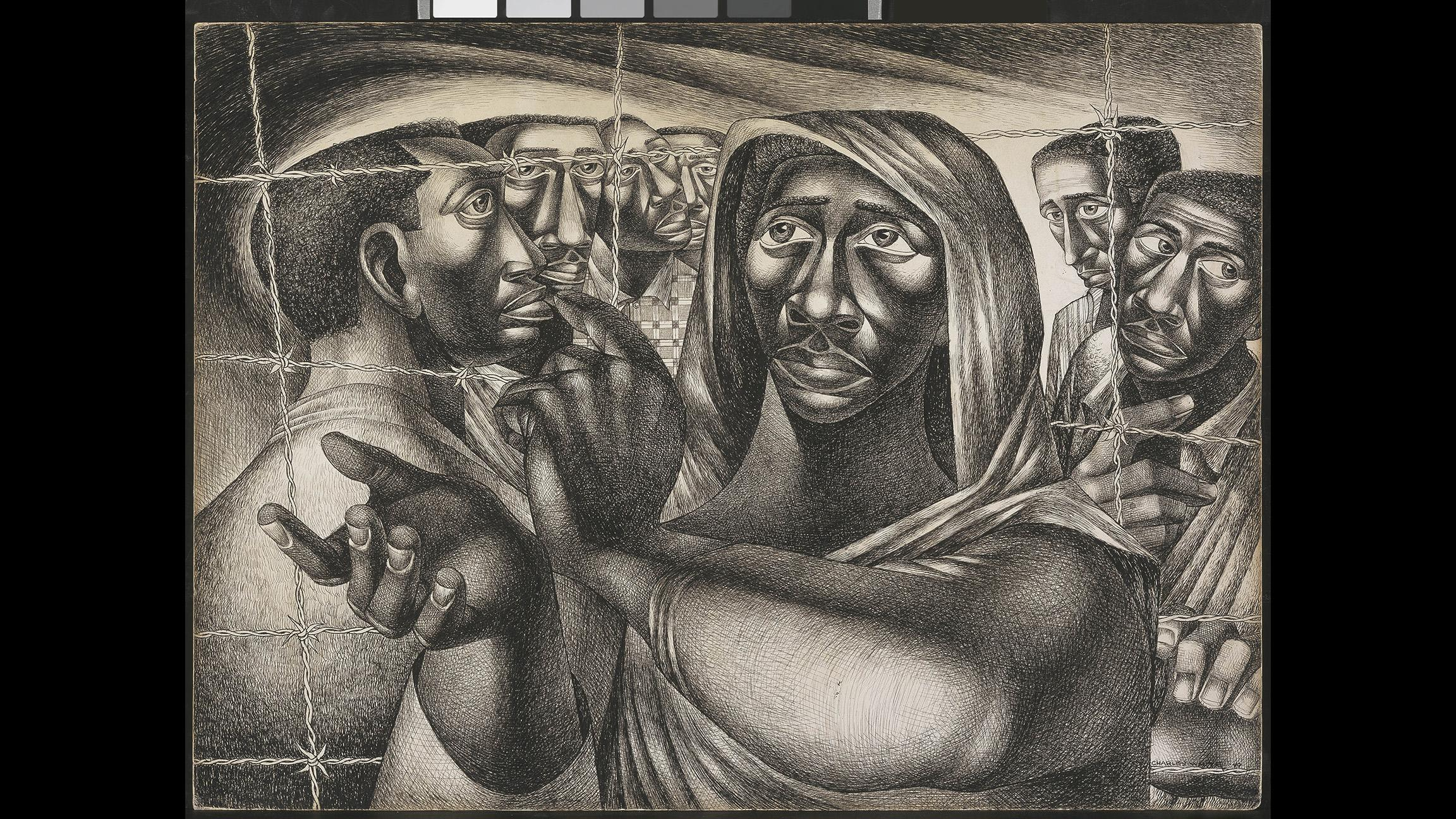 "Charles White. ""Trenton Six,"" 1949. Amon Carter Museum of American Art, Fort Worth, TX. (© The Charles White Archives Inc.)"