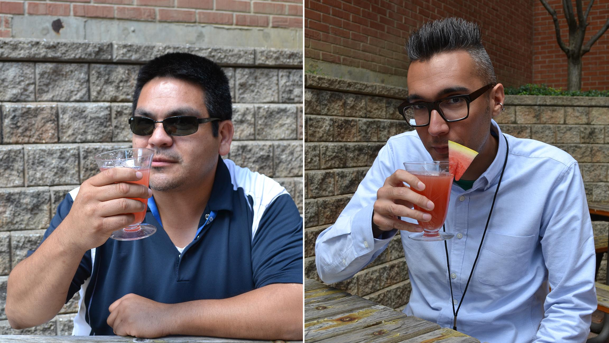 WTTW staffers Juan Carranza, left, and Hunter Clauss knock back a Booth One in the sun. (Erica Gunderson / Chicago Tonight)