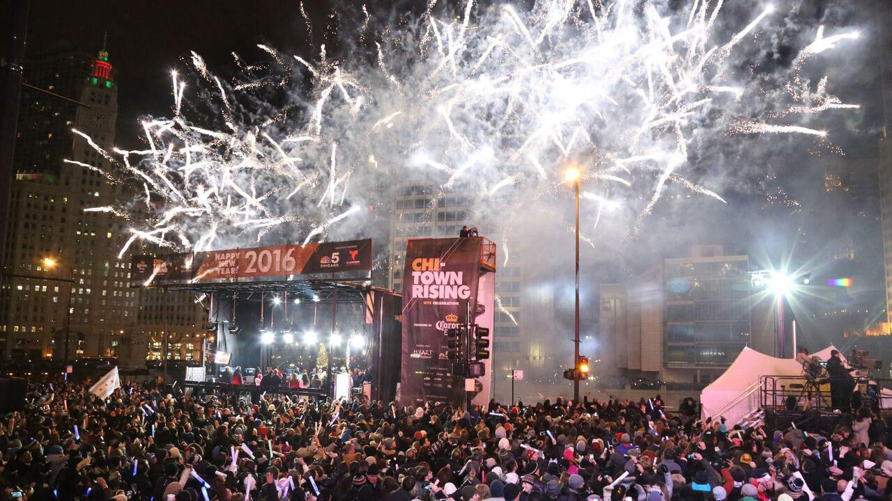 Fireworks light up the night at the inaugural Chi-Town Rising event on New Year's Eve. (Courtesy of Chi-Town Rising)