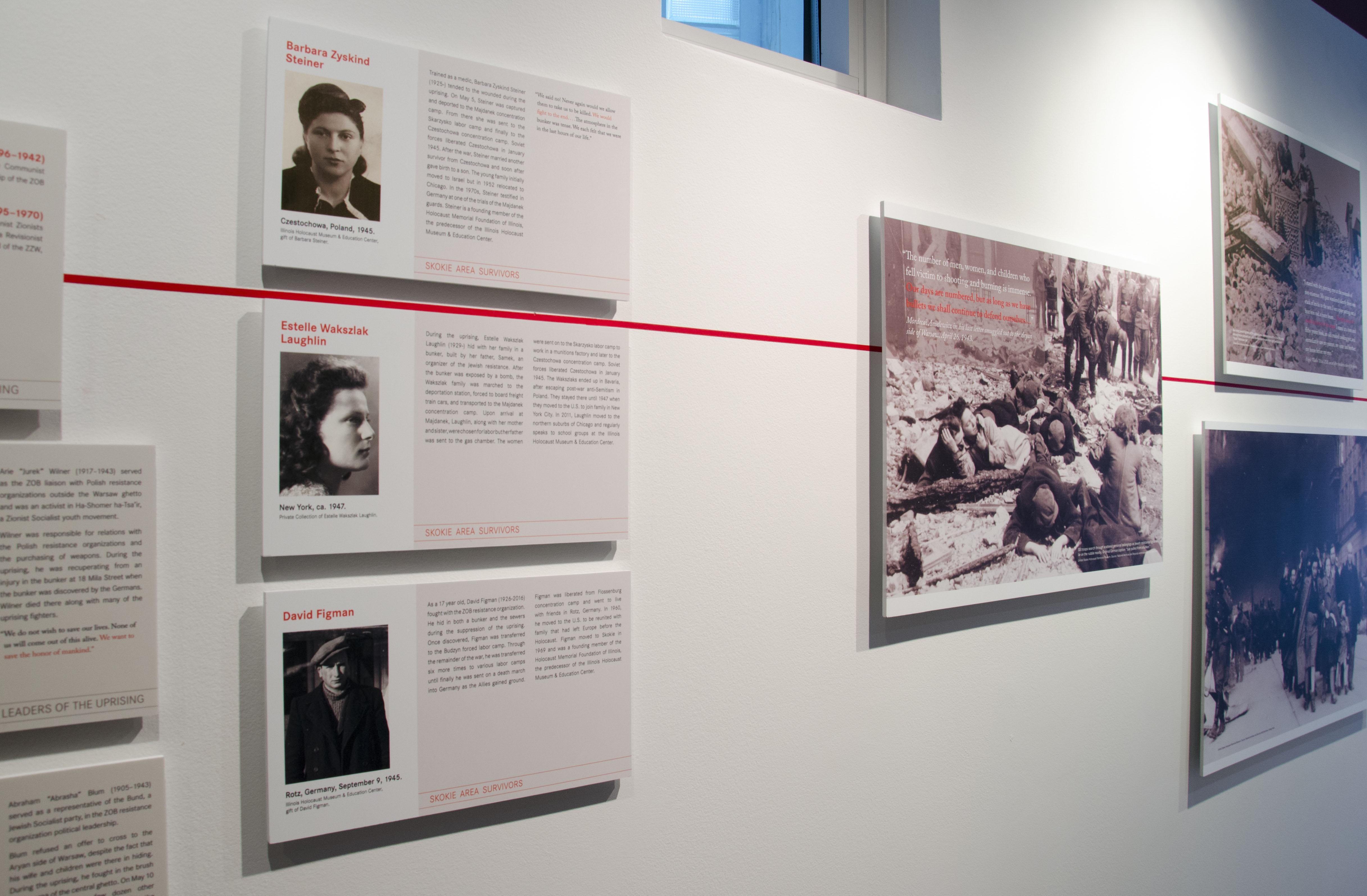Chicago survivors in Warsaw Ghetto Uprising photo exhibition. (Courtesy of Illinois Holocaust Museum & Education Center)