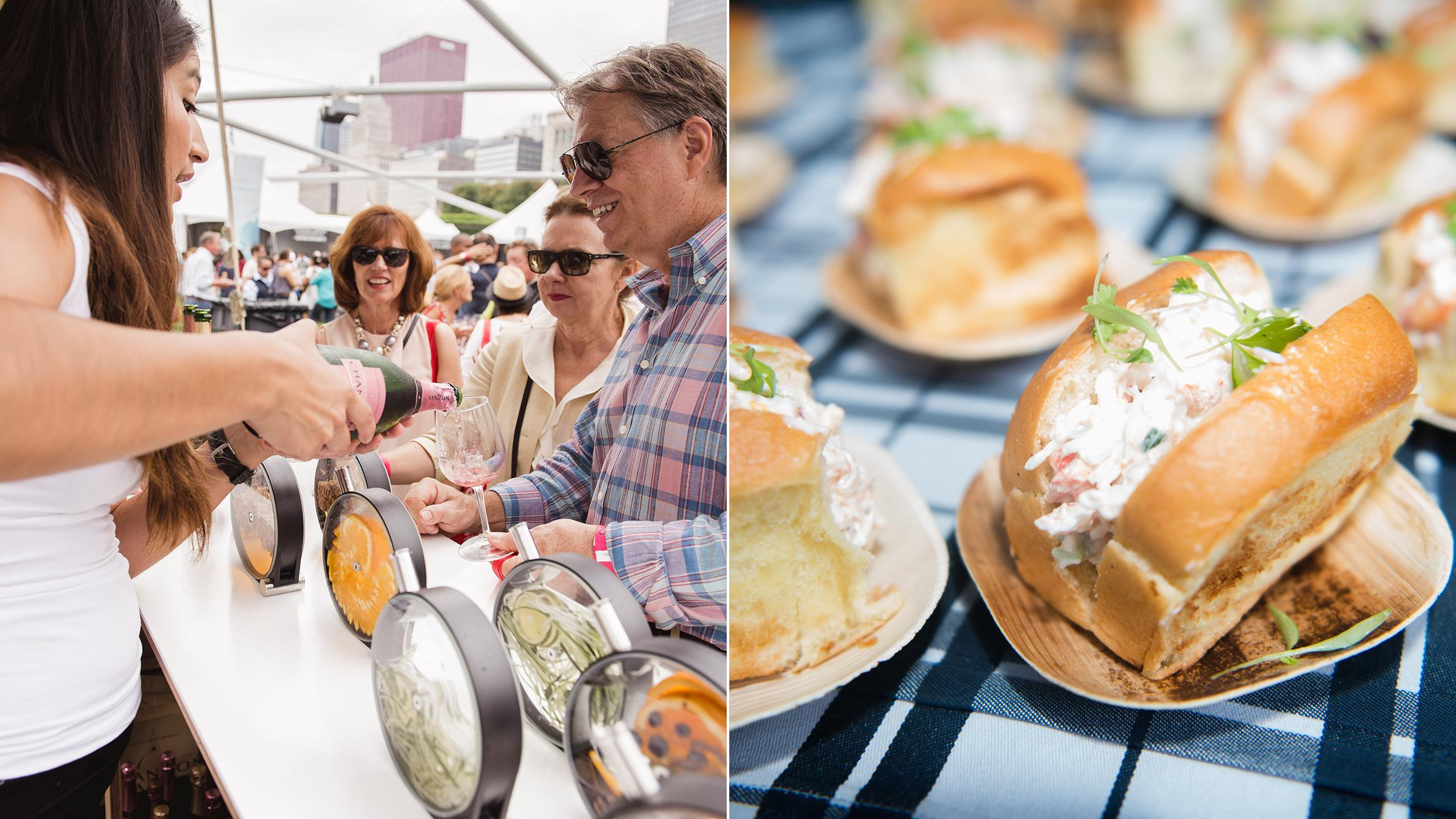 Chicago Gourmet attendees in 2015 enjoy Champagne, left, and Maine lobster rolls. (Photos by Nathanael Filbert, left, Beking Joassaint / Courtesy of Chicago Gourmet)