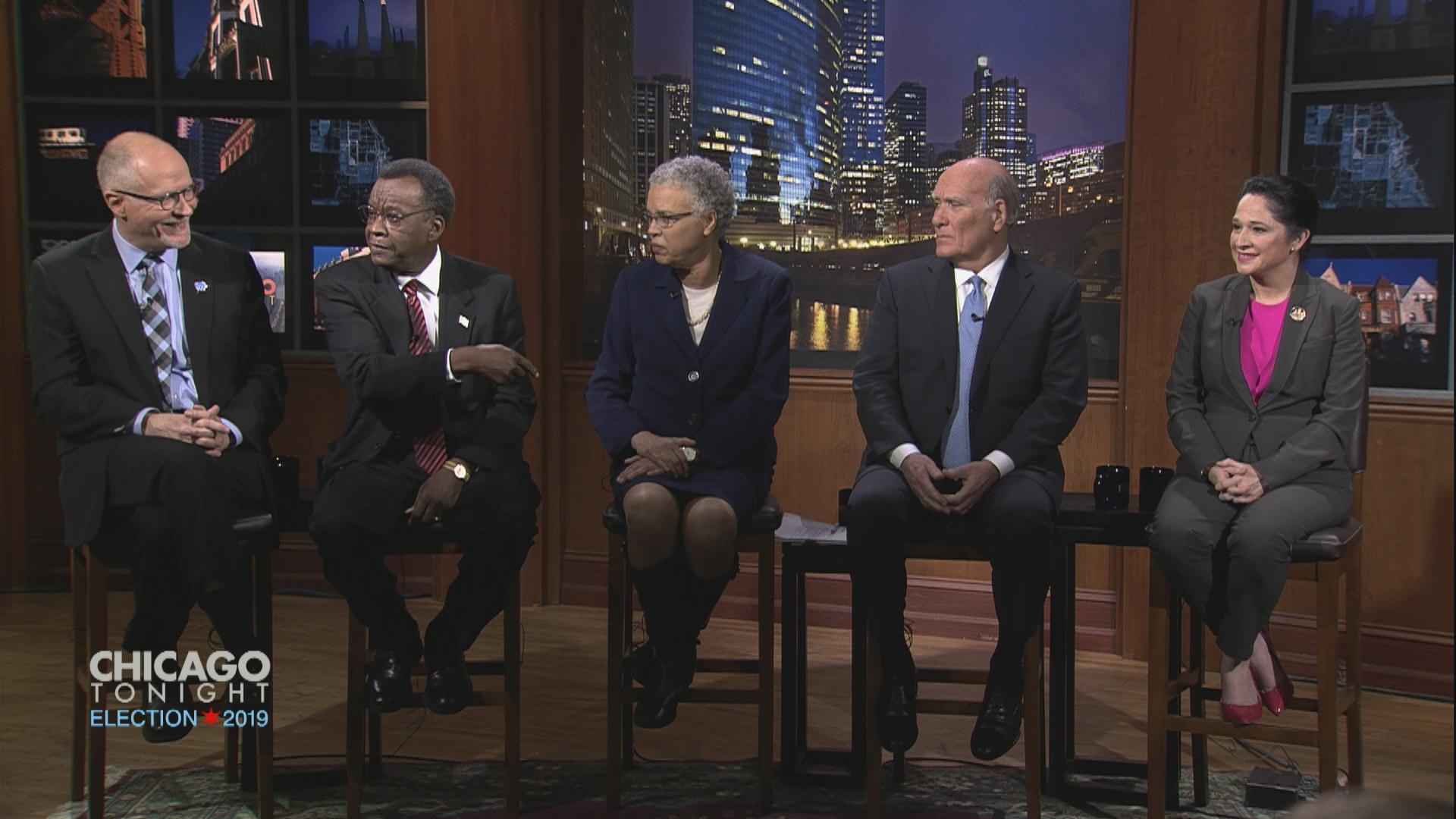 "Paul Vallas, Willie Wilson, Toni Preckwinkle, Bill Daley and Susana Mendoza appear on ""Chicago Tonight"" on Monday, Feb. 18, 2019."