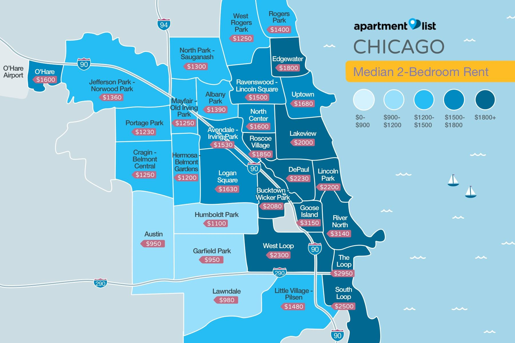 Map shows variety in rent prices of two-bedroom units throughout a number of neighborhoods. (Courtesy of Apartment List)