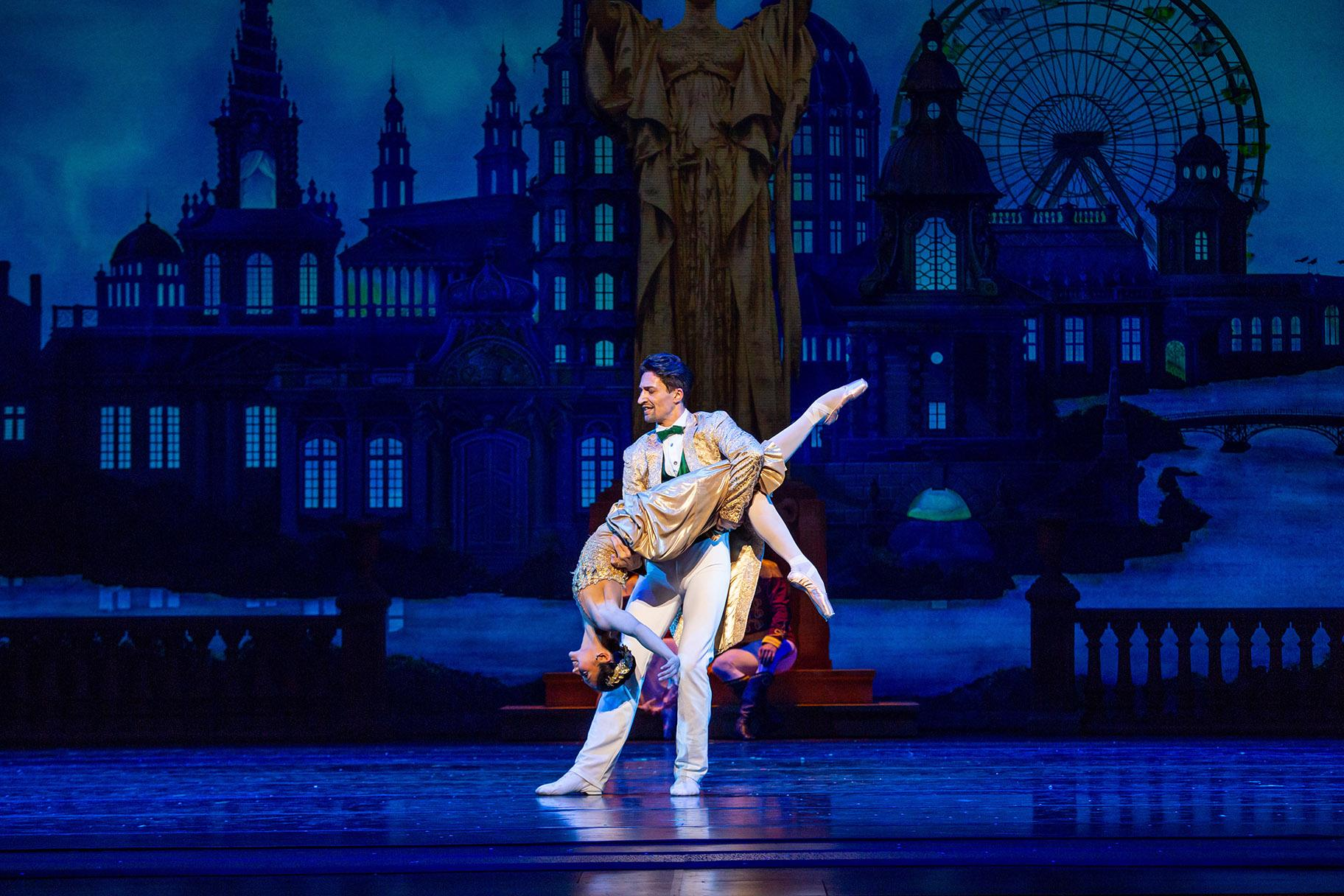 "Christine Rocas and Temur Sulashvili in the Joffrey Ballet production of ""The Nutcracker."" (Photo by Cheryl Mann)"
