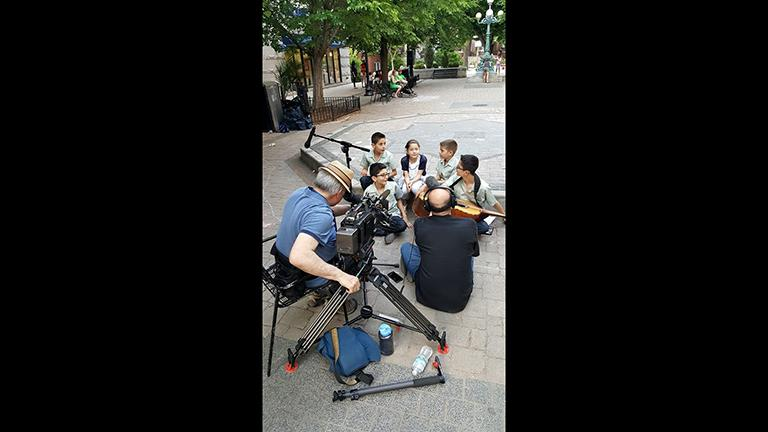 """Chicago Tonight"" films young members of Cielito Lindo in Giddings Plaza. (Courtesy Cielito Lindo / Facebook)"