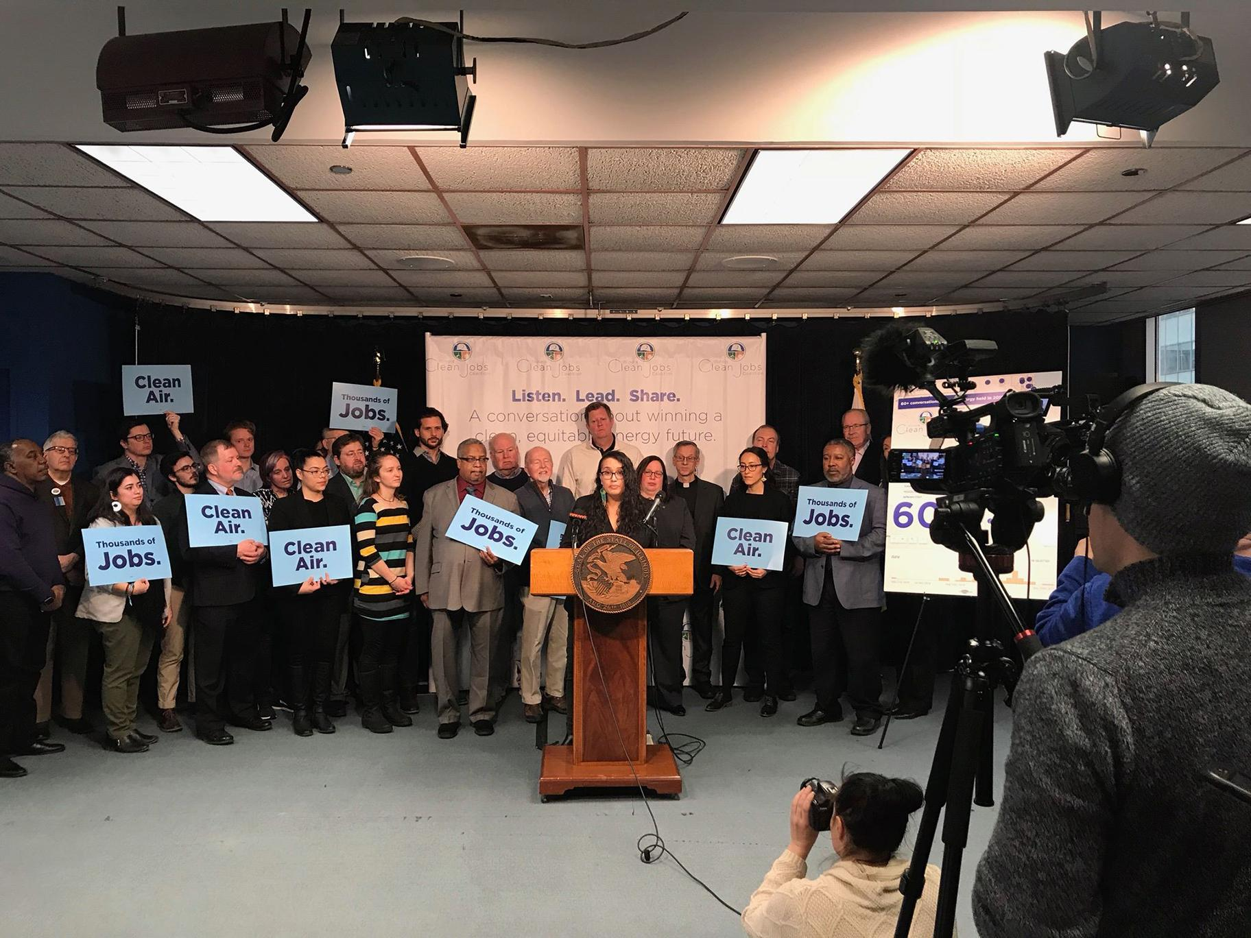 Supporters of a new clean energy bill at a press conference on Feb. 28, 2019 in Chicago (Courtesy Illinois Clean Jobs Coalition)