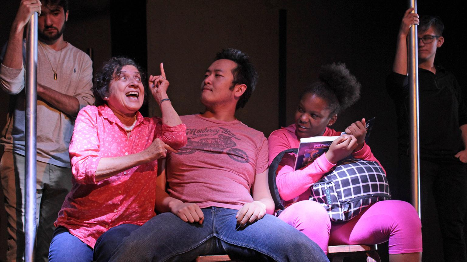 "From left: Assistant stage manager Gabe Halsted-Alvarez, actors Joette Waters, Jian Zhang and Maya Hooks, and floor manager Sunniva Holmlund in ""Manspread Madness,"" one of seven short works about peace premiering as part of Collaboraction's ""Peacebook"" Austin line-up. (Credit: Joel Maisonet)"
