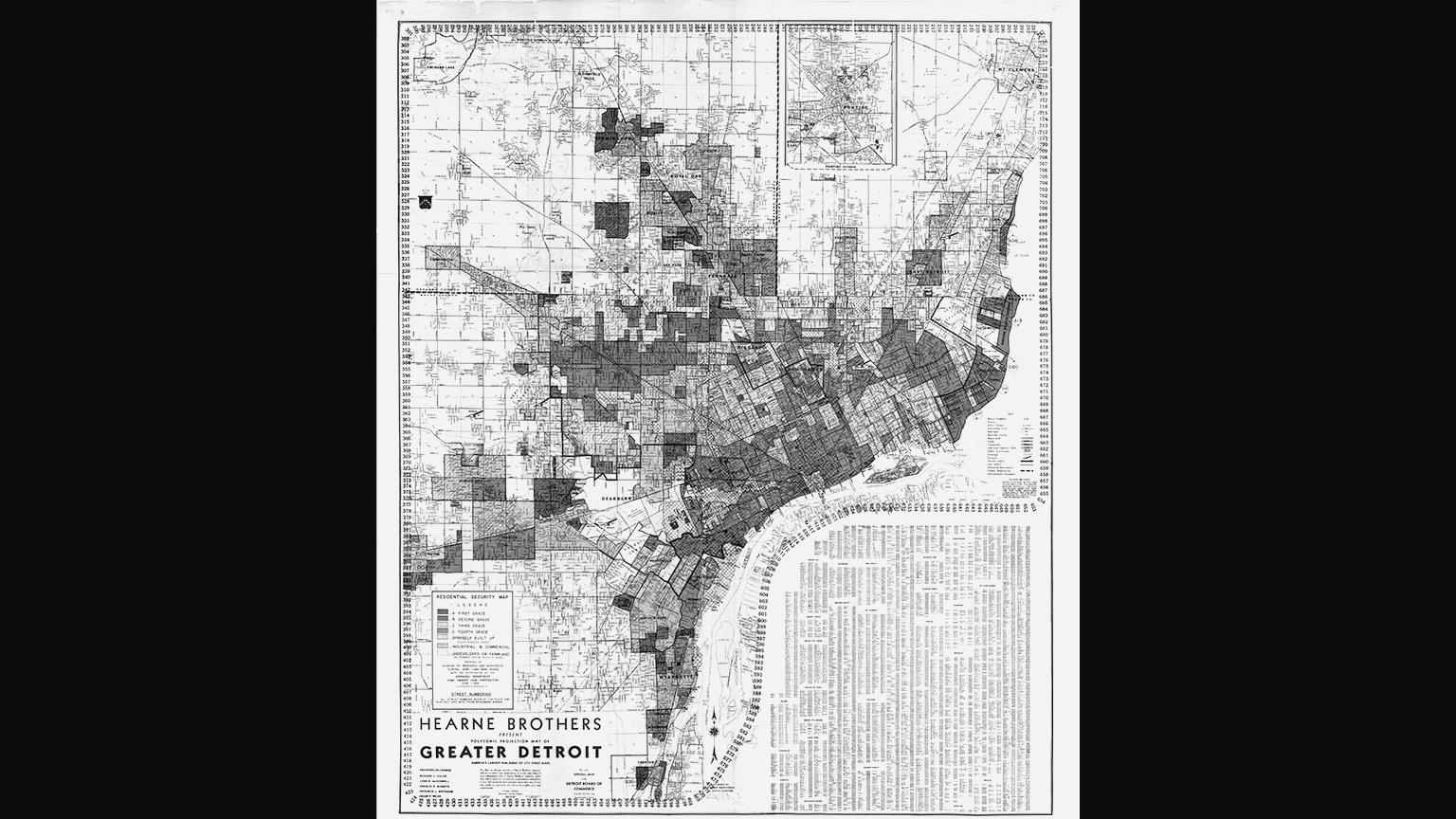 A redlining map of Detroit, created by a New Deal housing agency, to distinguish where African-Americans resided to warn appraisers not to approve loans. (Courtesy of W. W. Norton & Company)