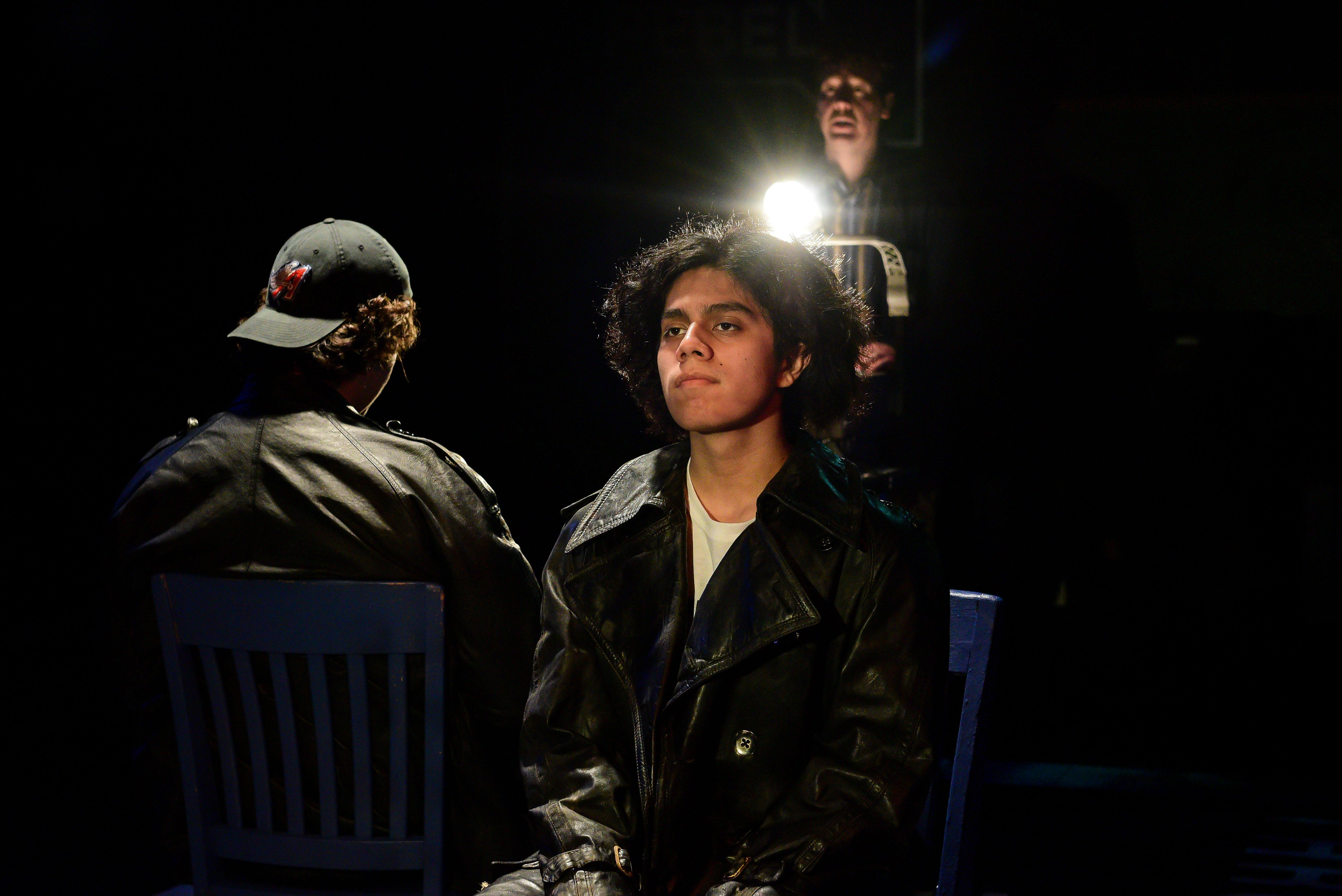 "From left: Brian Baren, Joel Ewing and Ervin Tobar in The Yard's production of ""Columbinus."" (Credit: Evan Hanover)"
