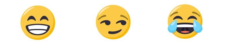 From left: Beaming face with smiling eyes; smirking face; face with tears of joy. (Emoji artwork provided by EmojiOne)