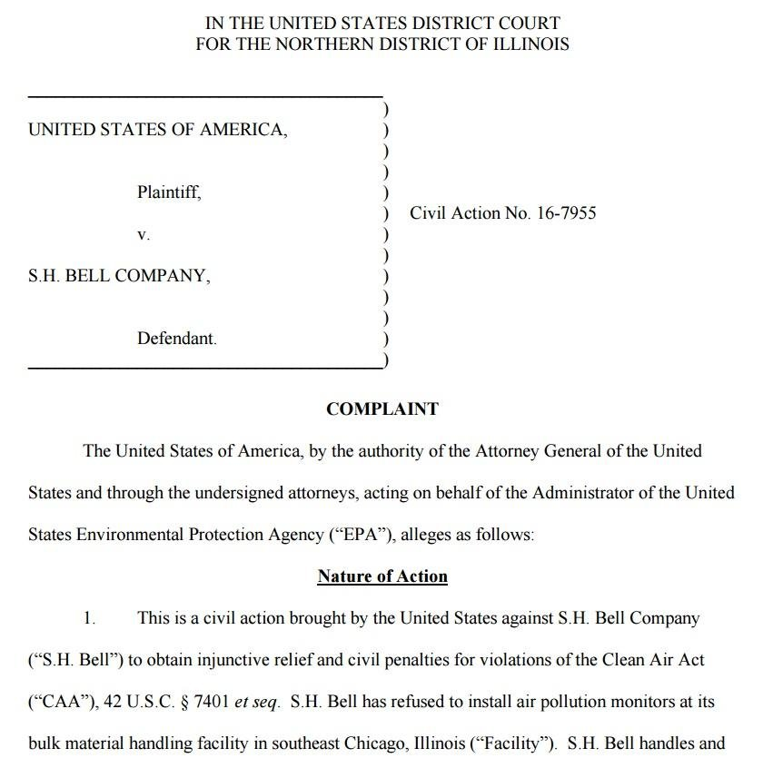 EPA Complaint against S.H. Bell Chicago, Aug. 2016