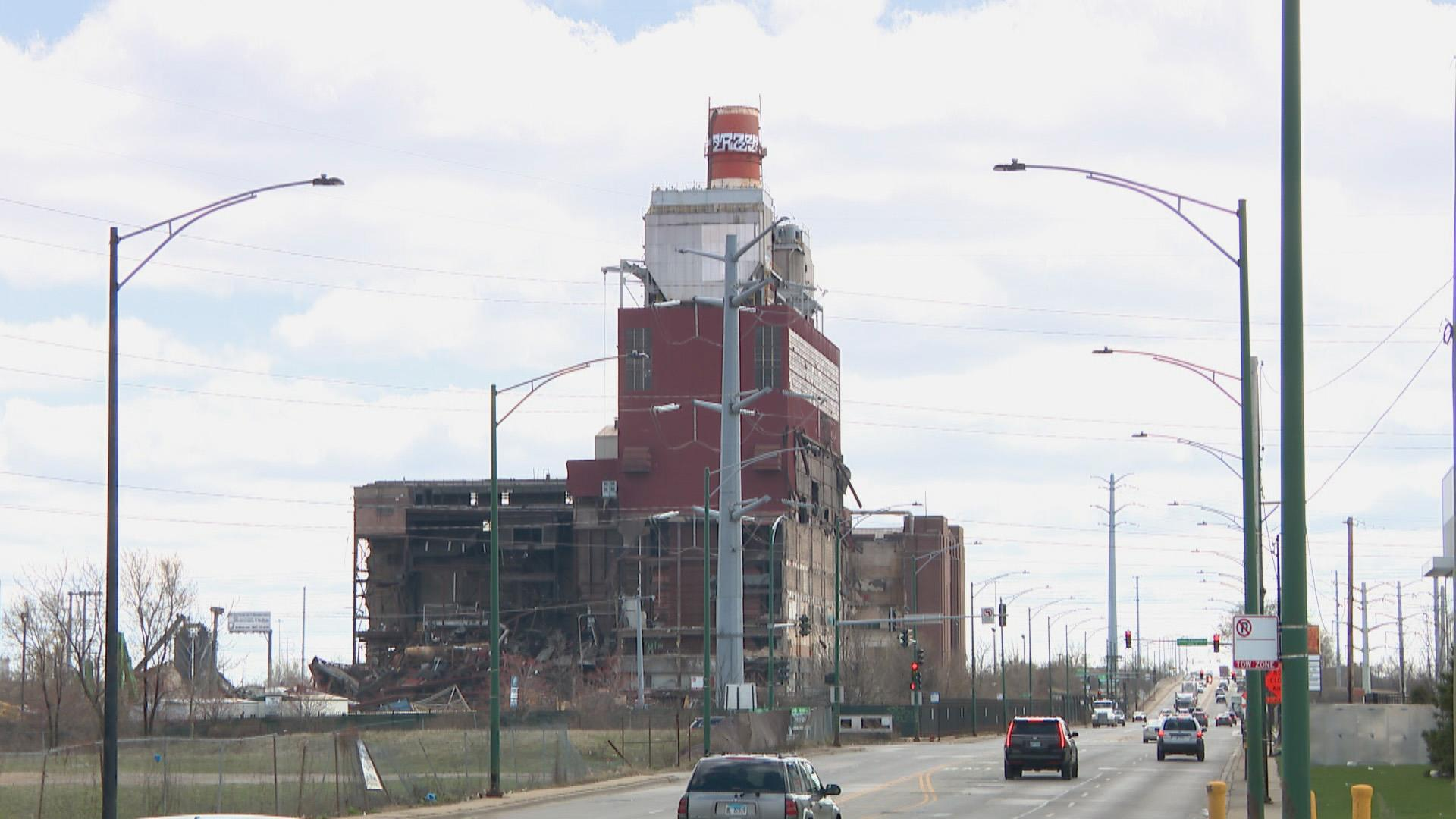 The partially demolished site of the former Crawford Power Generating Station in April 2020. (WTTW News)
