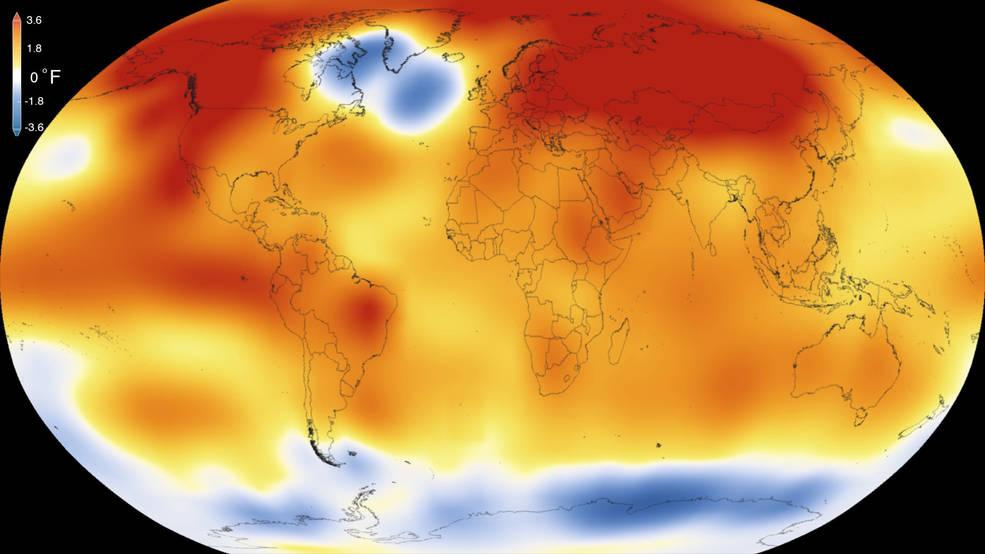 "NASA says the record-breaking global temperature of 2015 is ""largely driven by increased carbon dioxide and other human-made emissions into the atmosphere."" (Scientific Visualization Studio / Goddard Space Flight Center)"