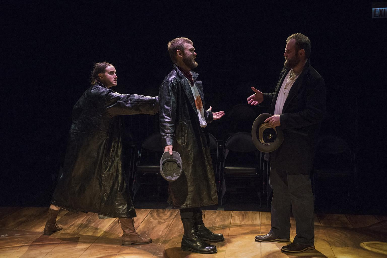 "(From left) Christina Gorman, Drew Schad and Joseph Wiens in Shattered Globe Theatre's new adaptation of of ""Crime and Punishment."" (Photo by Michael Brosilow)"