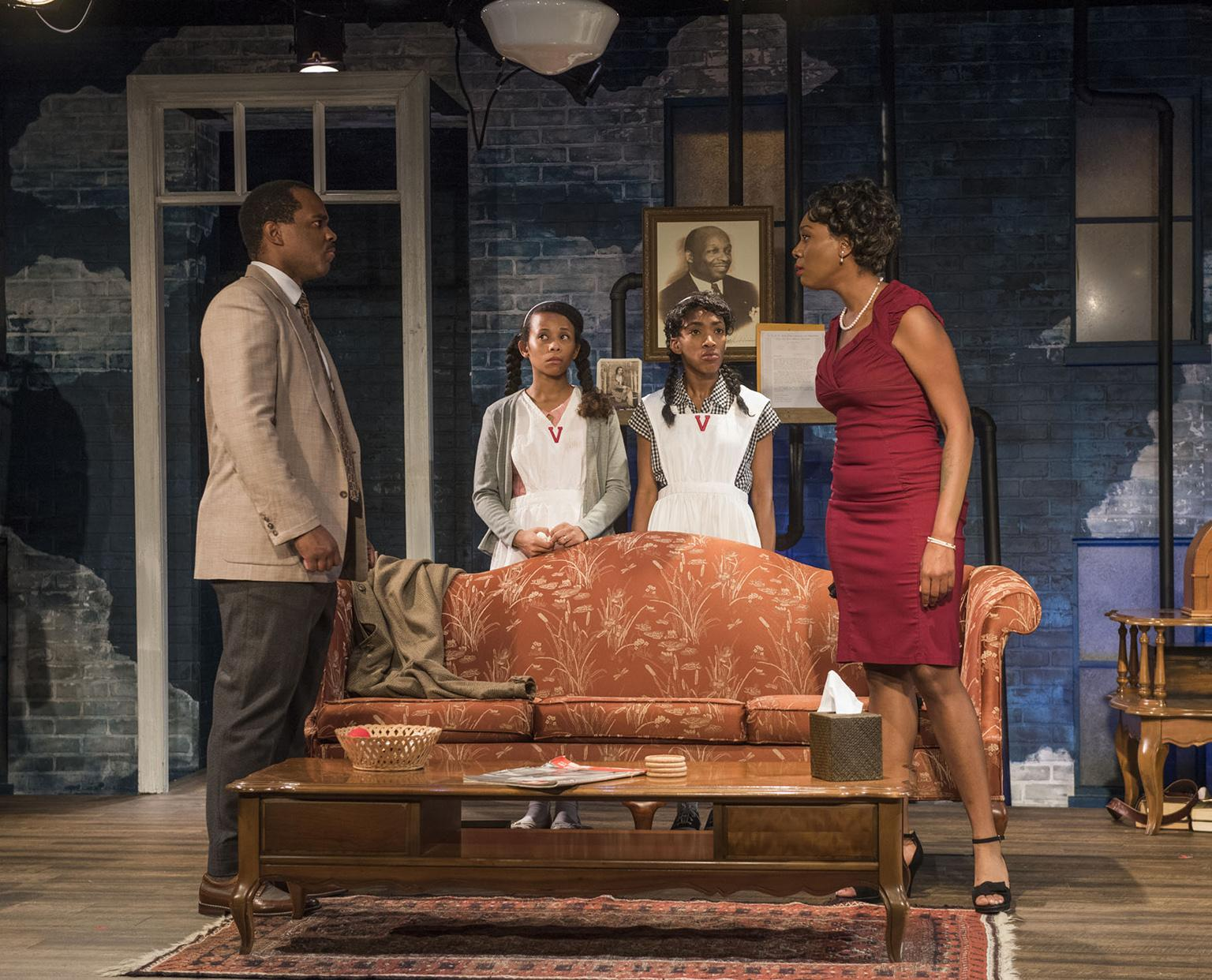 "From left: Terence Sims, Brandi Jiminez Lee, Chanell Bell and Brianna Buckley ""Crumbs from the Table of Joy,"" by Lynn Nottage. (Photo by Michael Brosilow)"