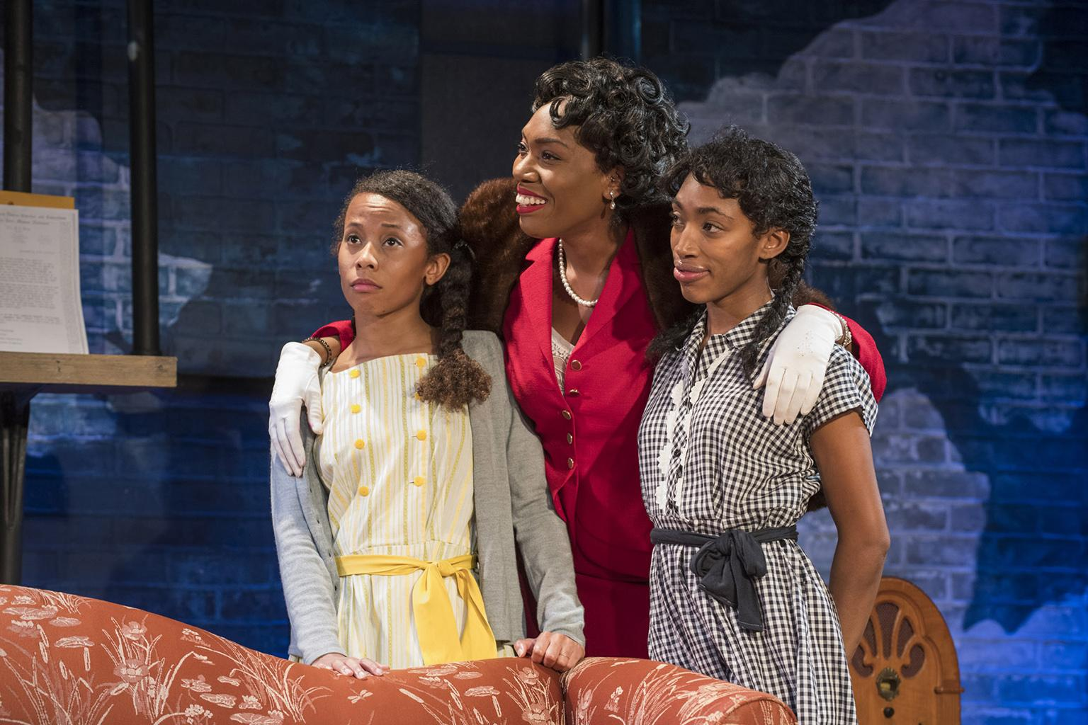 "From left: Brandi Jiminez Lee, Brianna Buckley and Chanell Bell in ""Crumbs from the Table of Joy."" (Photo by Michael Brosilow)"