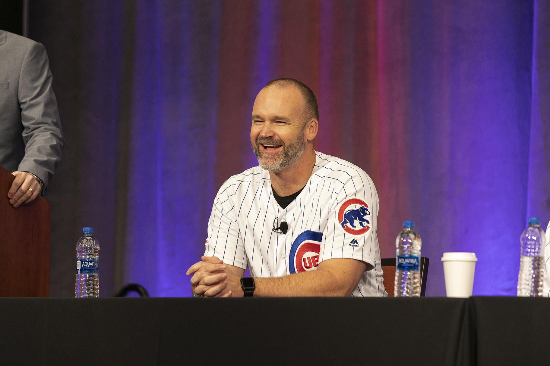 David Ross laughs during a panel discussion at the recent Cubs Convention. (Courtesy Steve Green / Chicago Cubs)