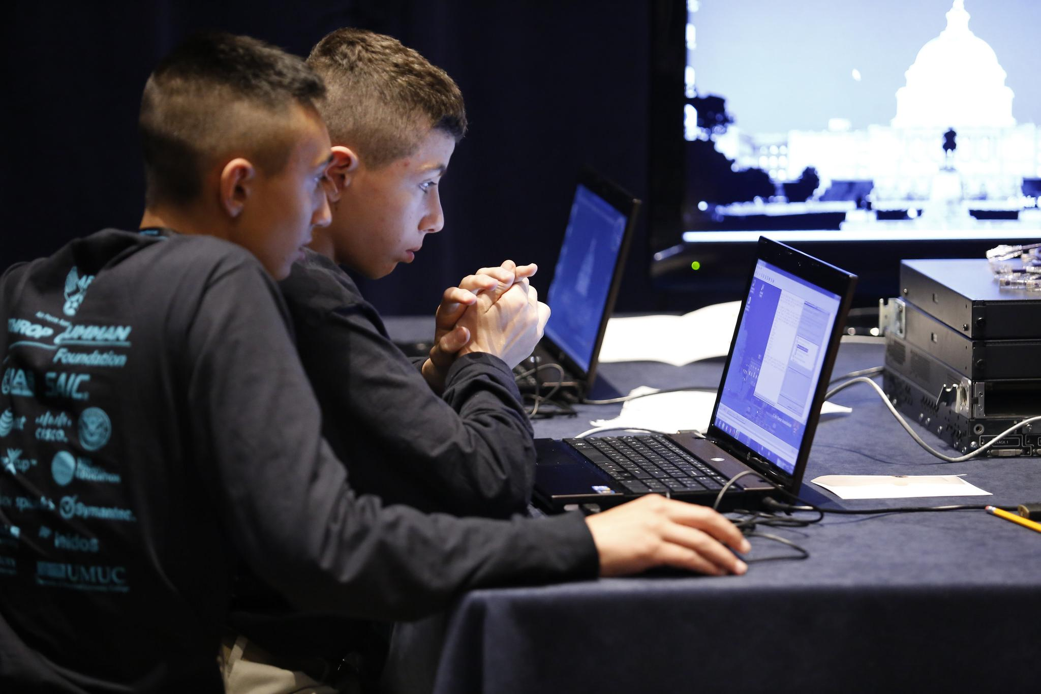 Students participate in the U.S. CyberPatriots competition, sponsored by the U.S. Air Force and Air Force Association. (U.S. Air Force)