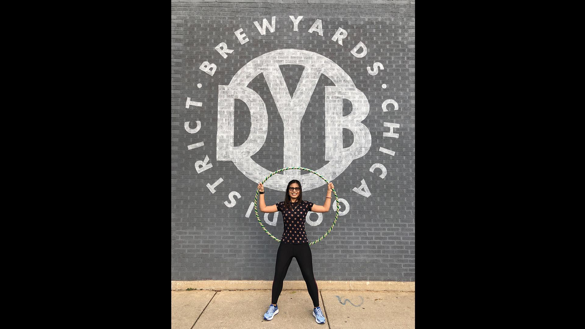 Jenny Doan will hula-hoop at District Brew Yards during her Guinness World Record attempt. (Courtesy of District Brew Yards)
