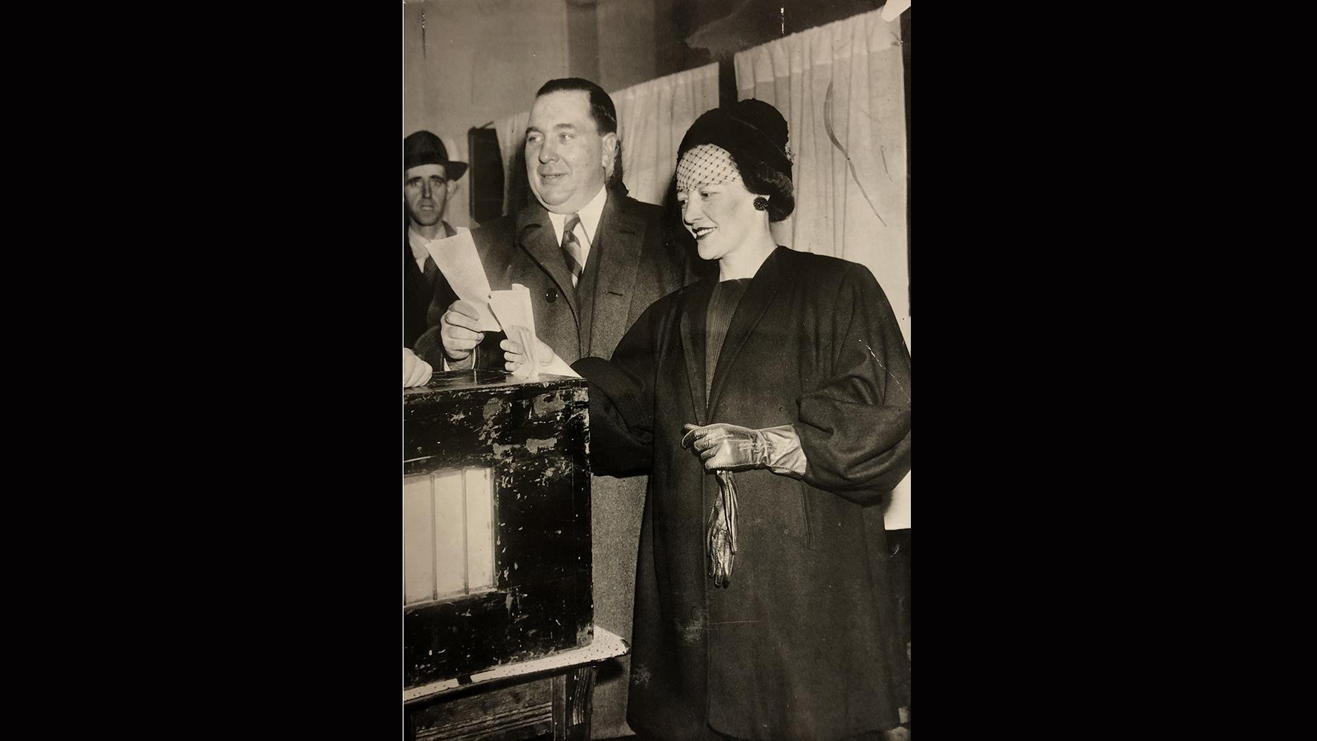 "Richard J. Daley and Eleanor ""Sis"" Daley vote in the 1946 race for Cook County sheriff. (Chicago Daily News Photo; Courtesy of the Chicago History Museum)"