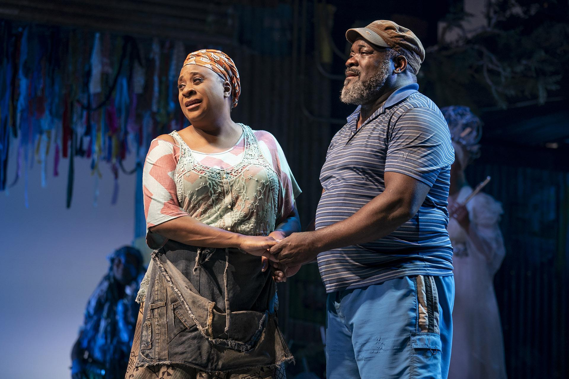 "Danielle Lee Greaves (left) as Mama Euralie and Phillip Boykin as Tonton Julian in the North American Tour of ""Once On This Island."" (Photo by Joan Marcus / 2019)"