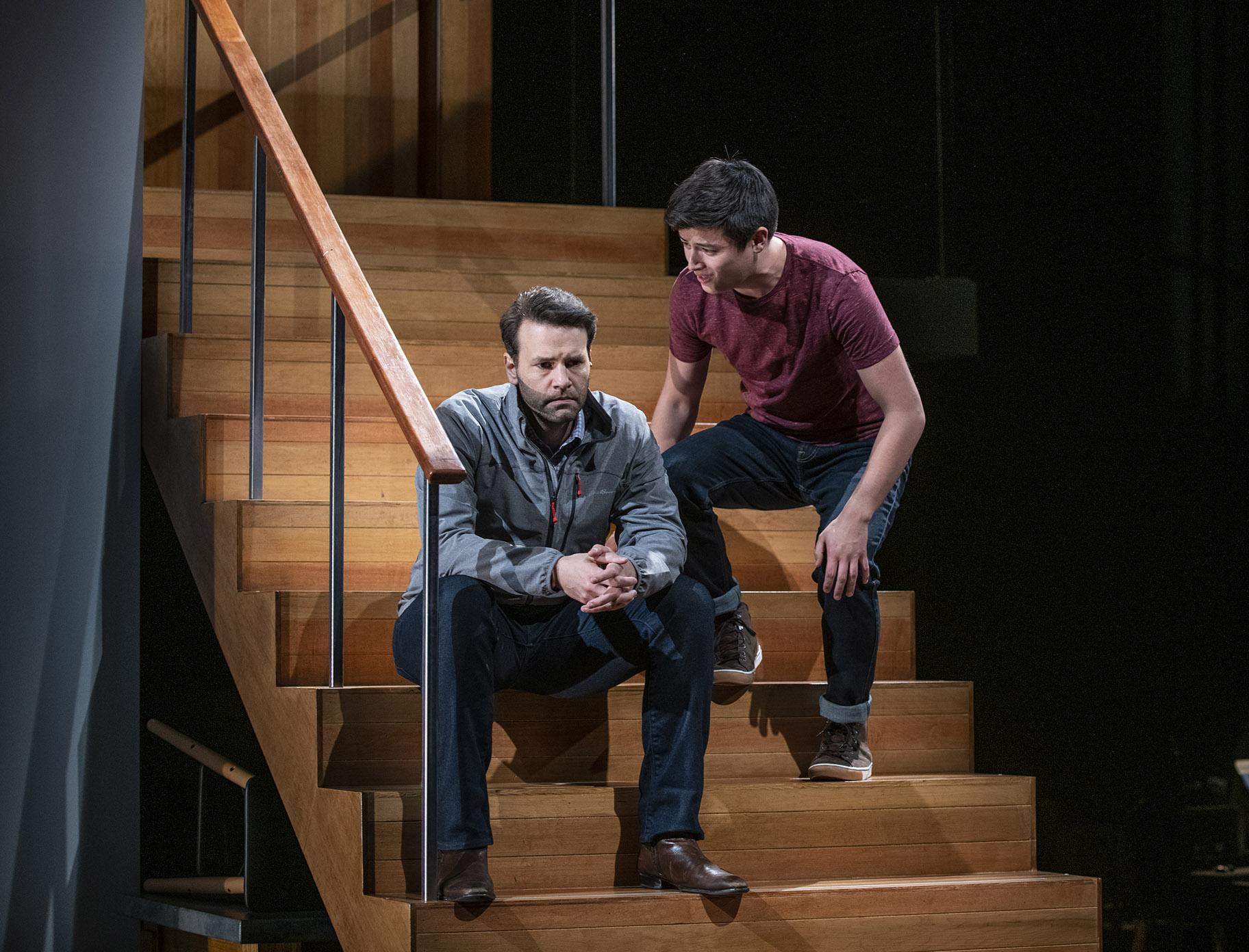 "David Schlumpf, left, and Liam Oh in ""Next to Normal."" (Photo credit: Michael Brosilow)"