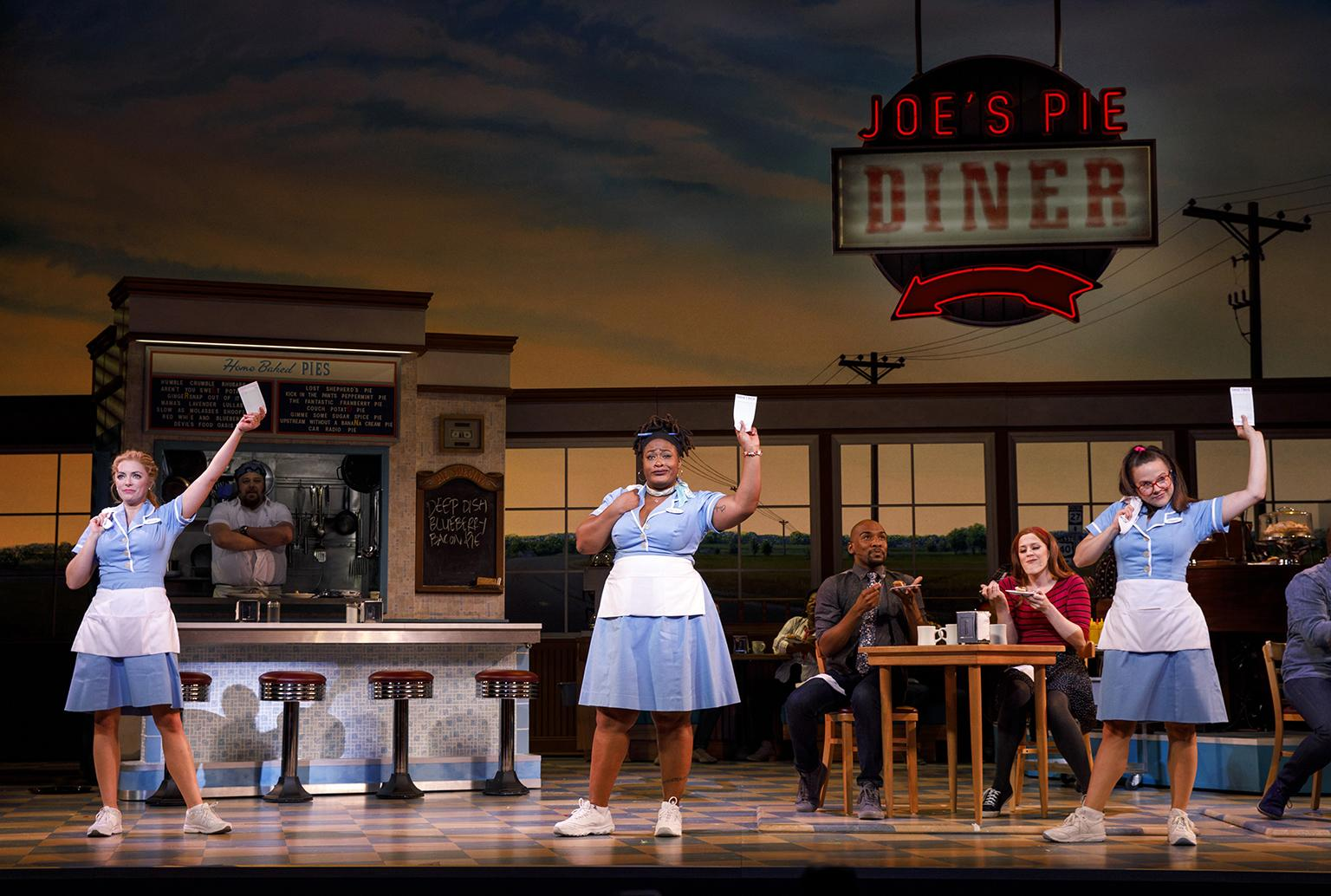 "Desi Oakley, Charity Angel Dawson and Lenne Klingaman in the national tour of ""Waitress."" (Credit: Joan Marcus)"