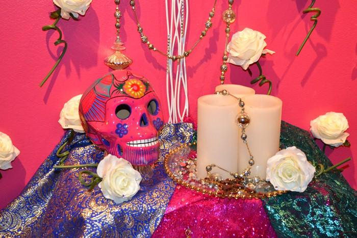 """The Queen of Tejan"" by Al Rendon and Henry M. DeLeon at the 2015 Dia de los Muertos exhibition at the National Museum of Mexican Art. (Sean Keenehan / Chicago Tonight)"