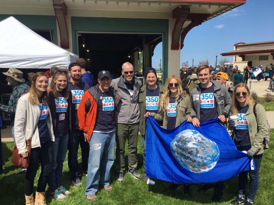 Volunteers from the Chicago chapter of 350.org, a global organization working to combat climate change (Courtesy Chicago 350)