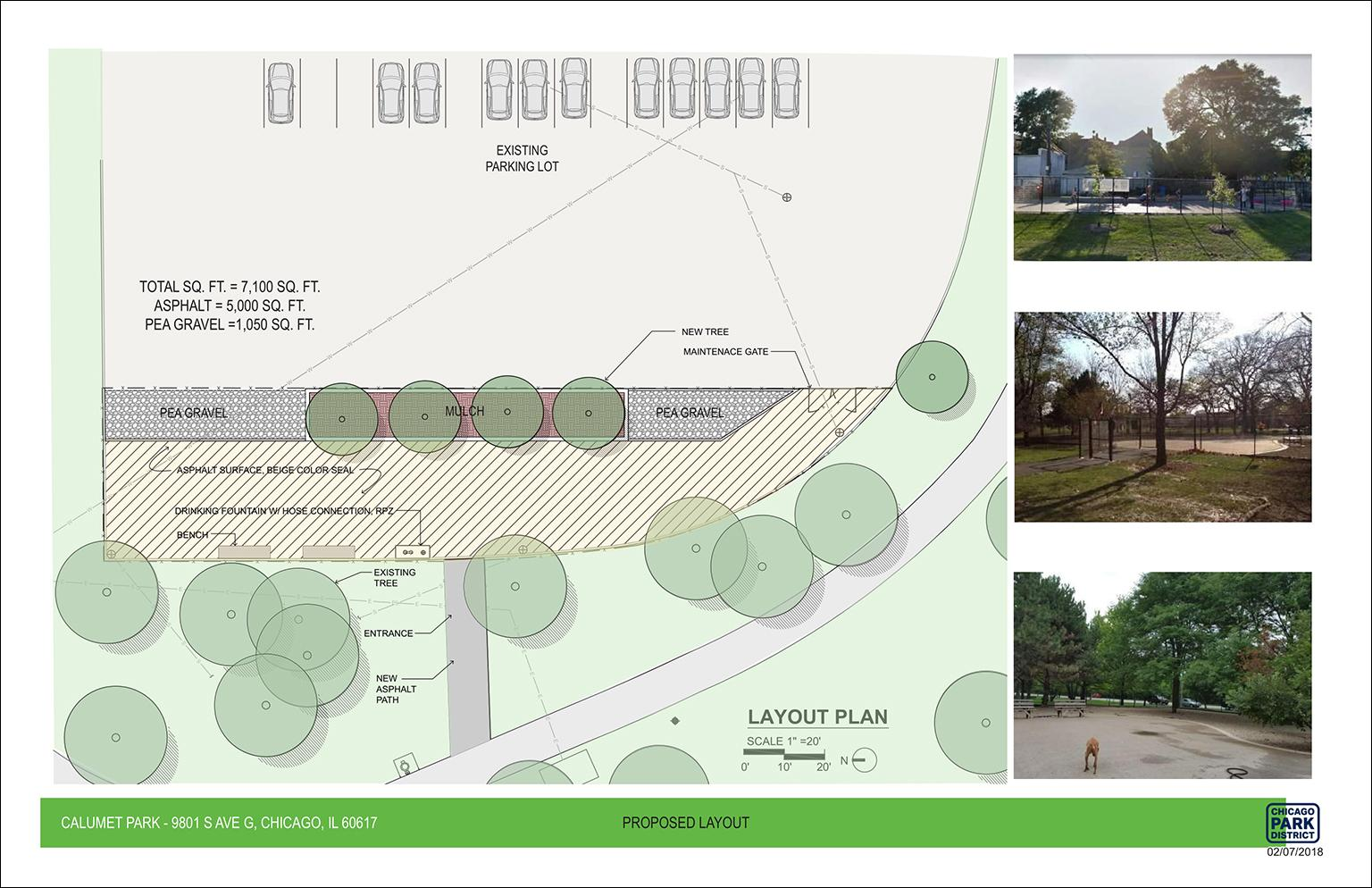 The new dog park at Calumet Park will be surfaced with asphalt and pea gravel and will feature trees, benches and a drinking fountain. (Chicago Park District)