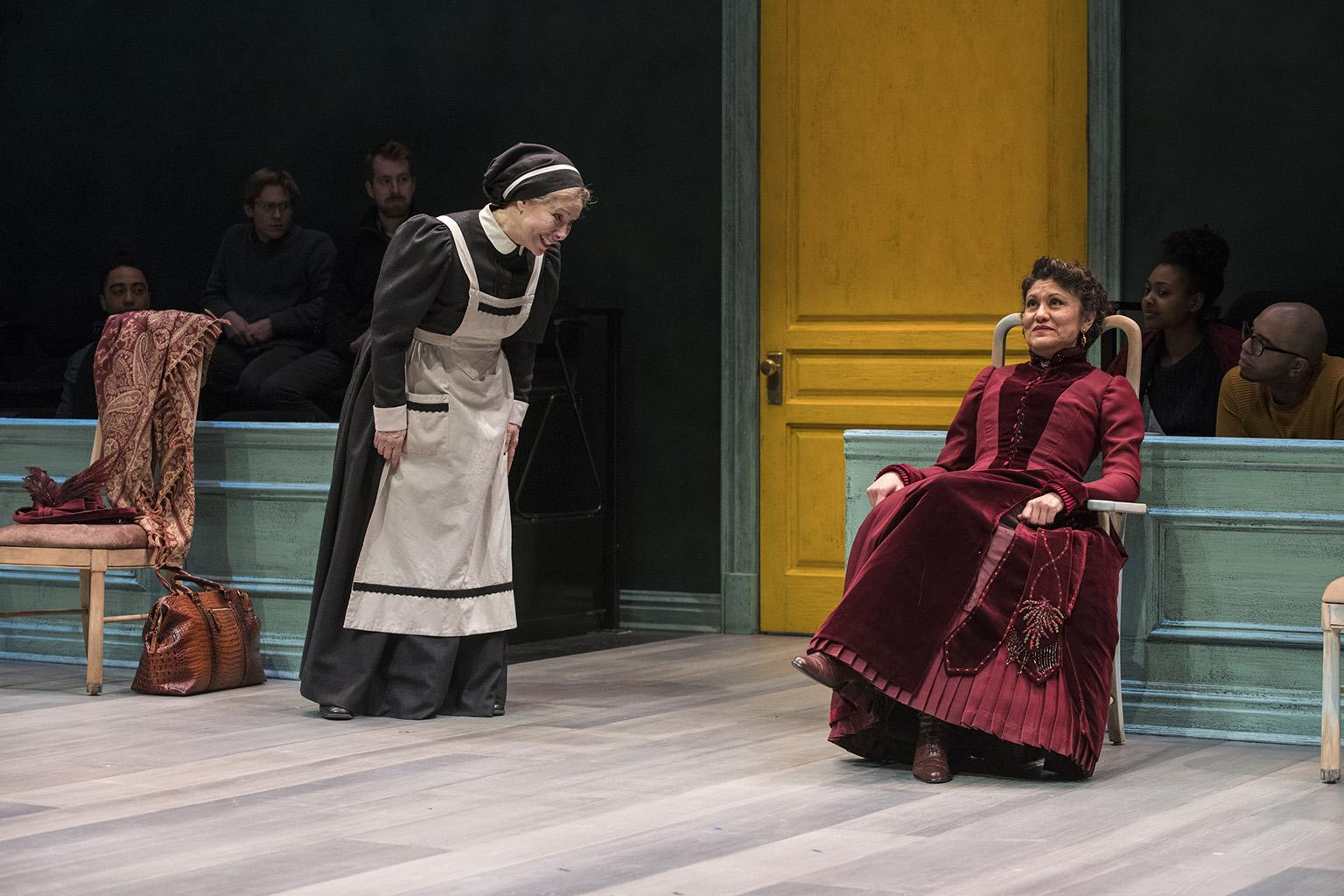 "Barbara Robertson and Sandra Marquez in ""A Doll's House, Part 2."" (Photo by Michael Brosilow)"