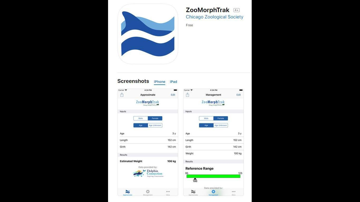ZooMorphTrak helps animal care specialists optimize diets for bottlenose dolphins. (Chicago Zoological Society / Apple App Store)