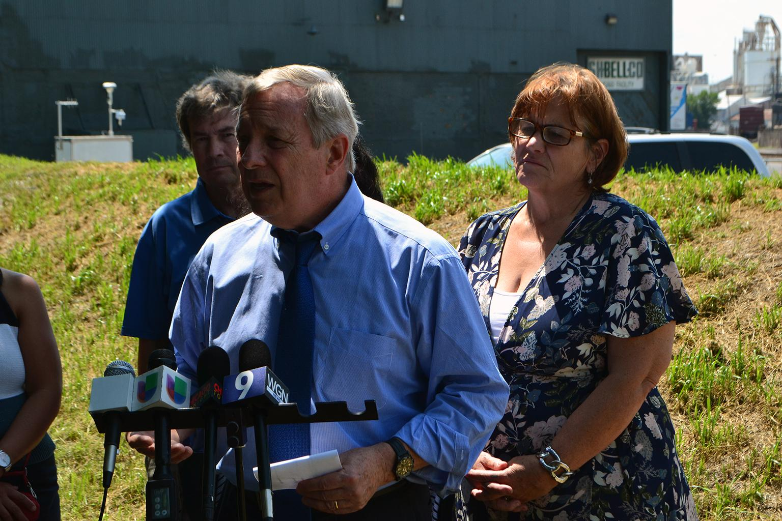 U.S. Sen. Dick Durbin speaks to the press after meeting with Southeast Side residents on Thursday, Aug. 9, 2018 to discuss public health threats stemming from nearby industrial facilities. (Alex Ruppenthal / Chicago Tonight)