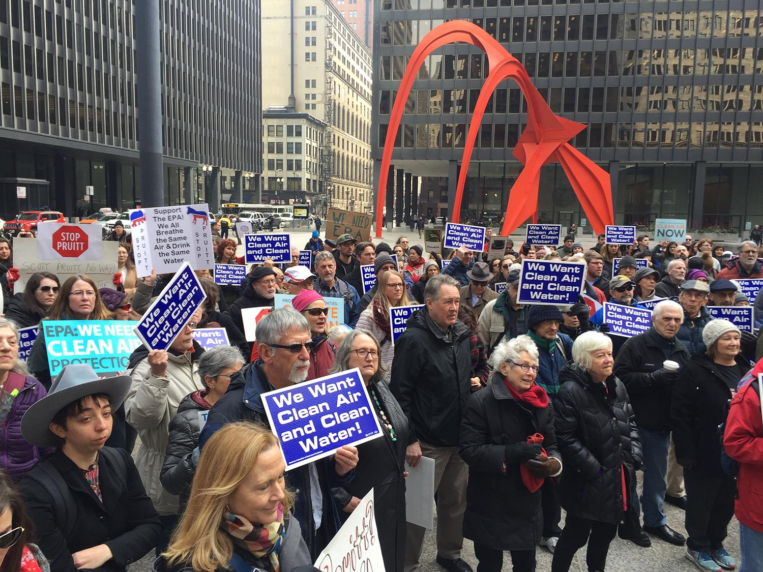 EPA staff and supporters attend a rally Feb. 6 in support of the agency in downtown Chicago. (Courtesy Sierra Club)