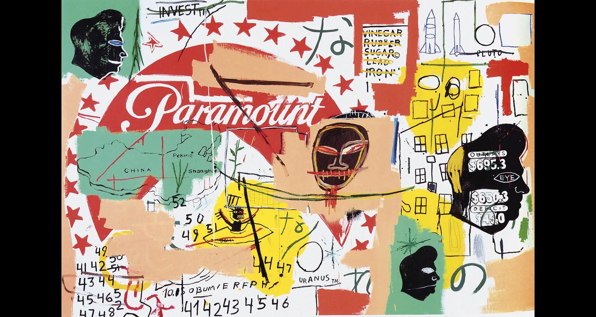 "Andy Warhol, Jean-Michel Basquiat. ""Paramount,"" 1984–85. Private collection. © 2019 Jean-Michel Basquiat Estate. Licensed by Artestar, New York. © The Andy Warhol Foundation for the Visual Arts, Inc. / Artists Rights Society (ARS), New York."