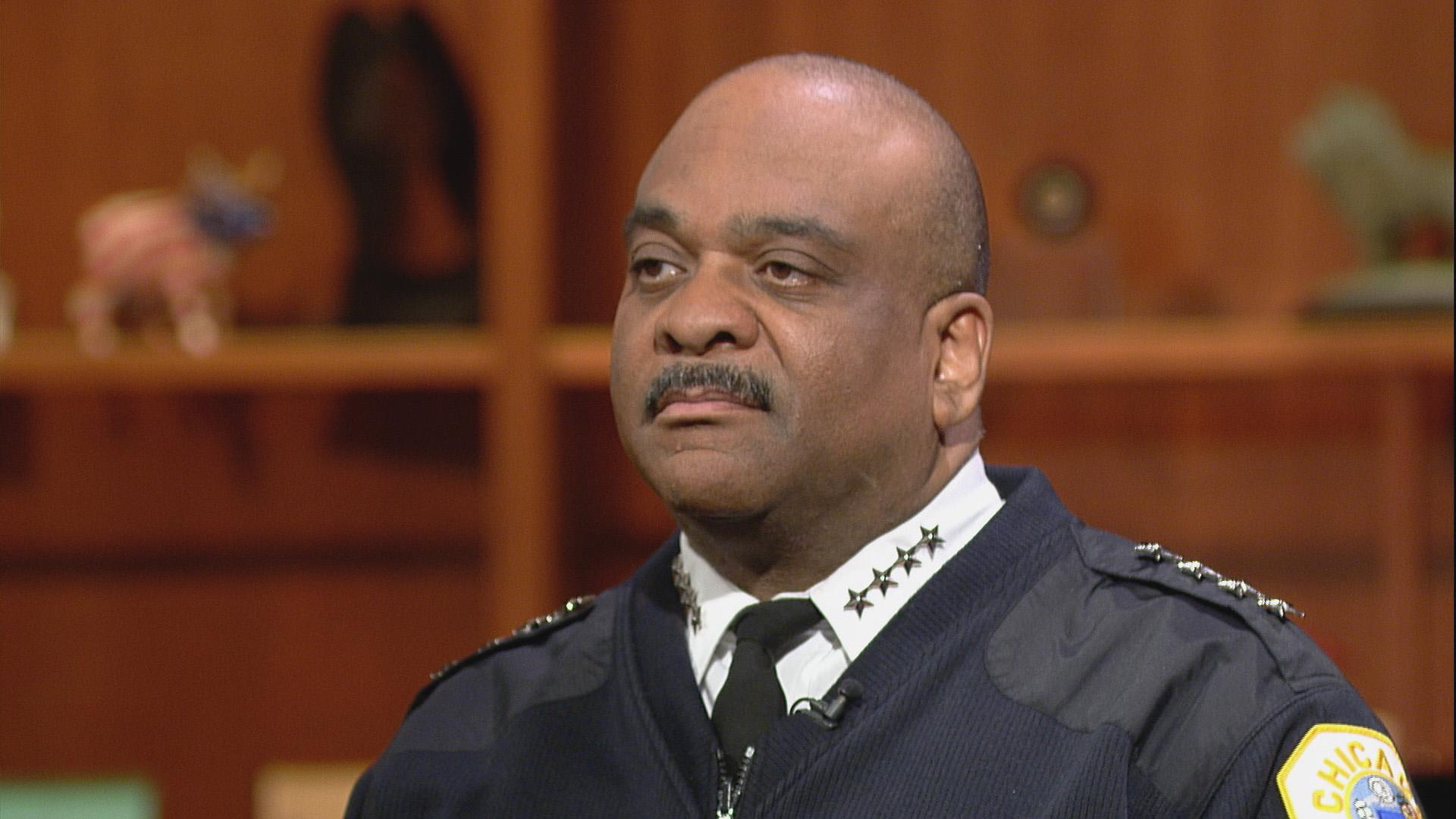 "Chicago Police Superintendent Eddie Johnson appears on ""Chicago Tonight"" on March 14, 2017. (WTTW News)"