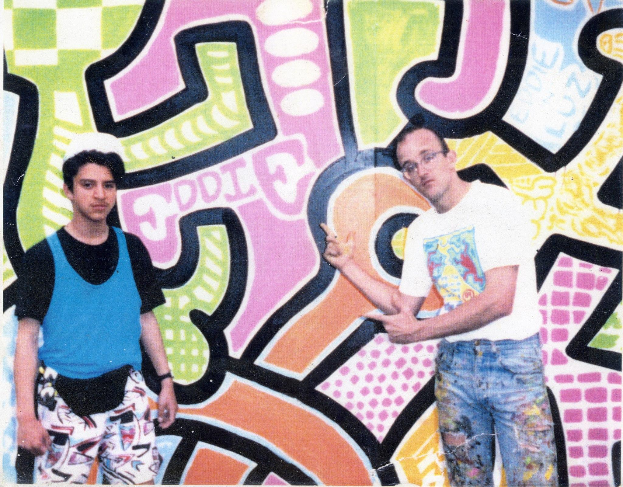 Eddie Alvarado and Keith Haring in 1989.
